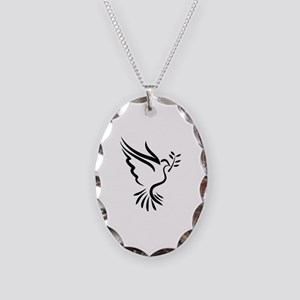 Dove Necklace Oval Charm